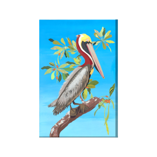 ode to audubon brown pelican 24X36 wrapped